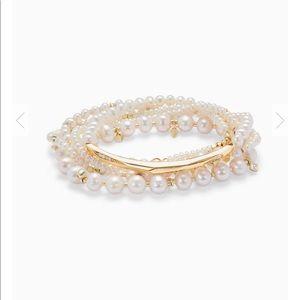 Kendra Scott Supak Gold Beaded Bracelet Set Pearl